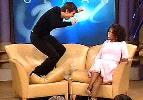 Crazy Tom Cruise during his infamous Oprah appearance.