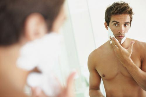 Dude shaving.  I honestly don't see a problem with seeing this in my bathroom, but I digress . . .