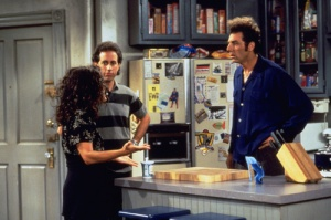 Even impossible neat Jerry Seinfeld had stuff on his fridge. Not that there's anything wrong with that.